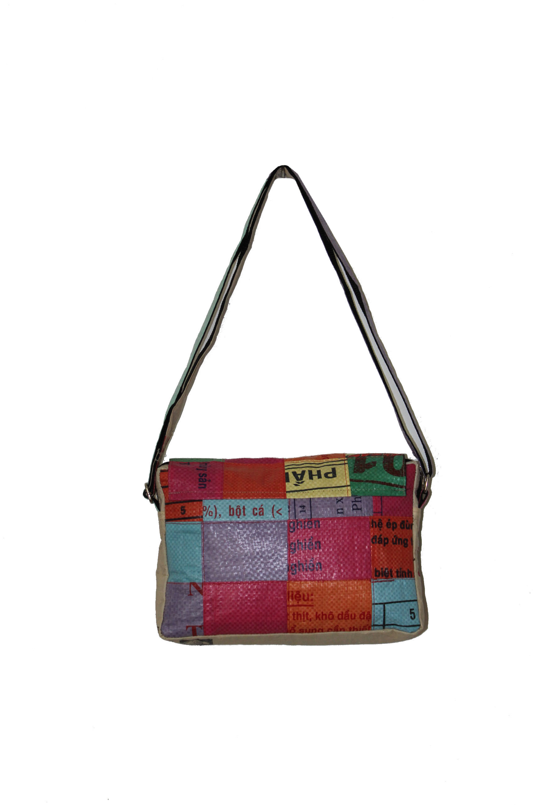 Recycled Patch Shoulder Bag Square Design Recycled Bags
